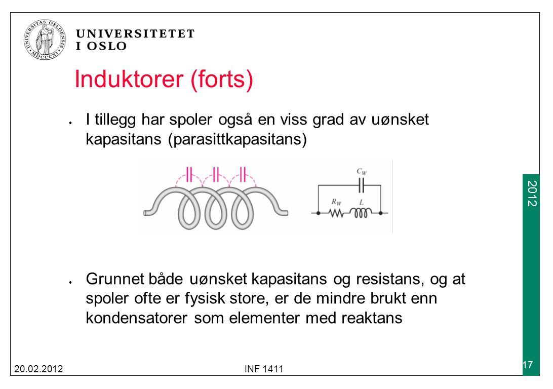 Induktorer (forts) I tillegg har spoler også en viss grad av uønsket kapasitans (parasittkapasitans)
