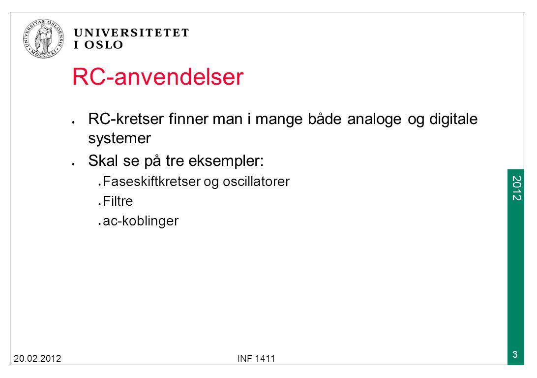 RC-anvendelser RC-kretser finner man i mange både analoge og digitale systemer. Skal se på tre eksempler: