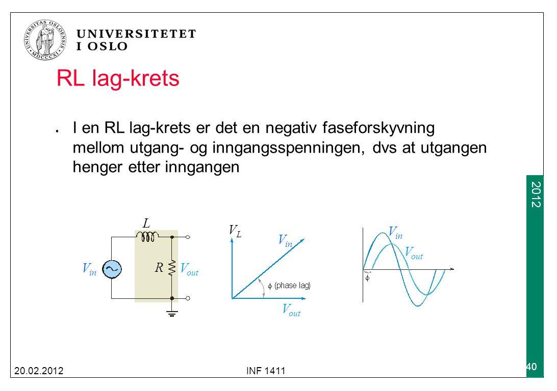 RL lag-krets I en RL lag-krets er det en negativ faseforskyvning mellom utgang- og inngangsspenningen, dvs at utgangen henger etter inngangen.