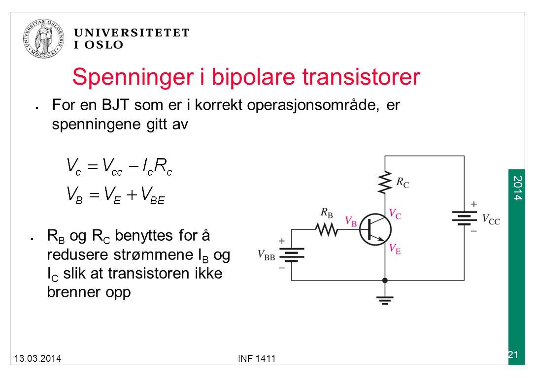 Spenninger i bipolare transistorer