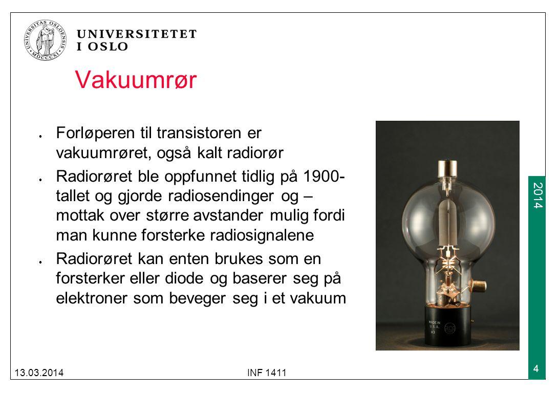 Vakuumrør Forløperen til transistoren er vakuumrøret, også kalt radiorør.