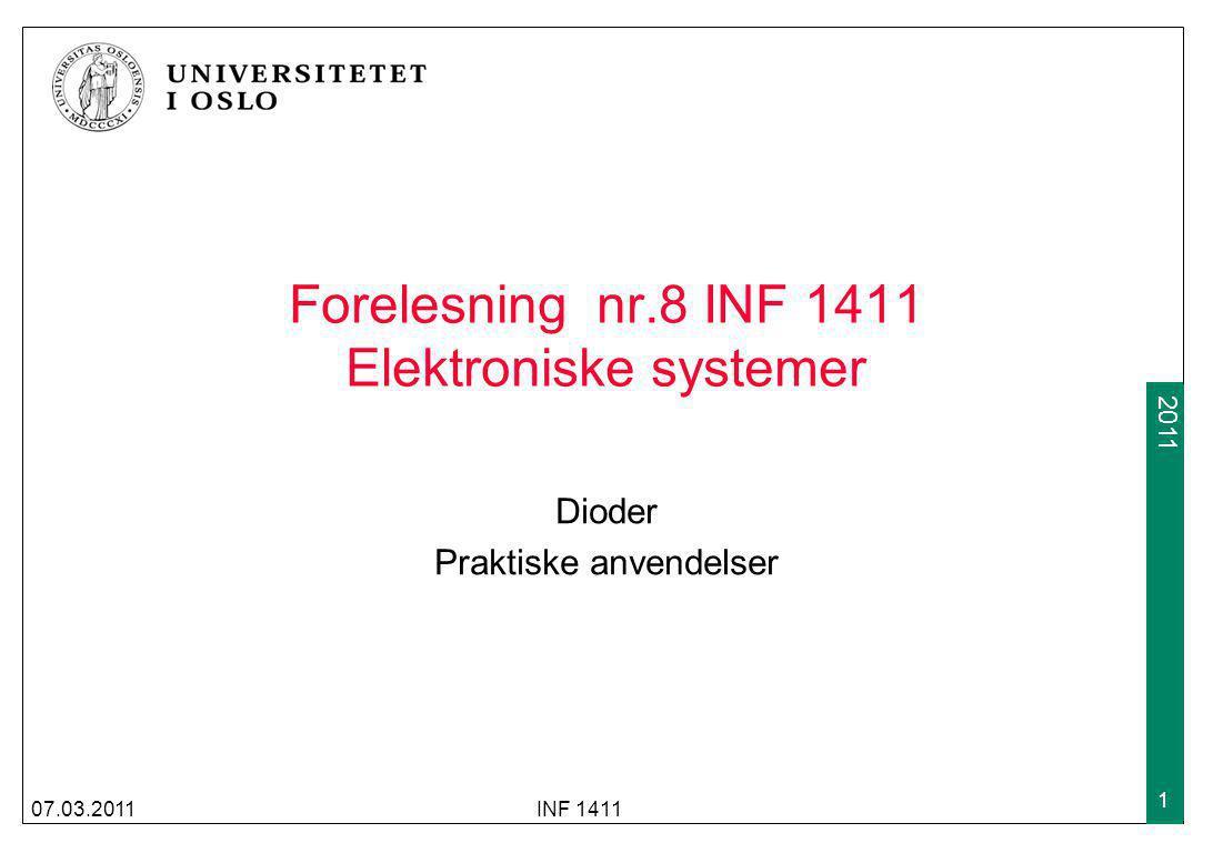 Forelesning nr.8 INF 1411 Elektroniske systemer