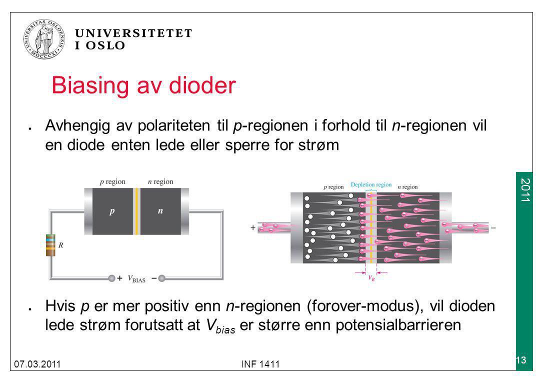 Biasing av dioder Avhengig av polariteten til p-regionen i forhold til n-regionen vil en diode enten lede eller sperre for strøm.