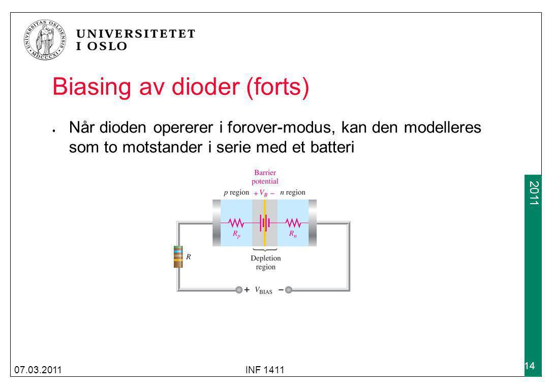 Biasing av dioder (forts)