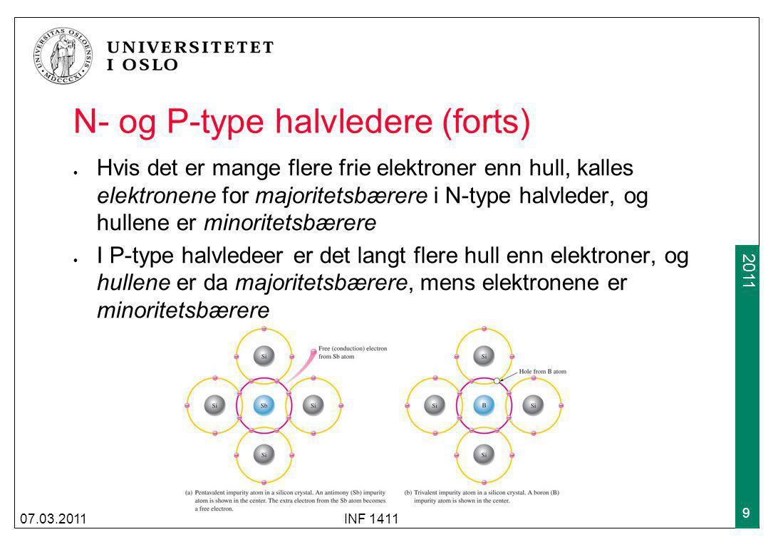 N- og P-type halvledere (forts)