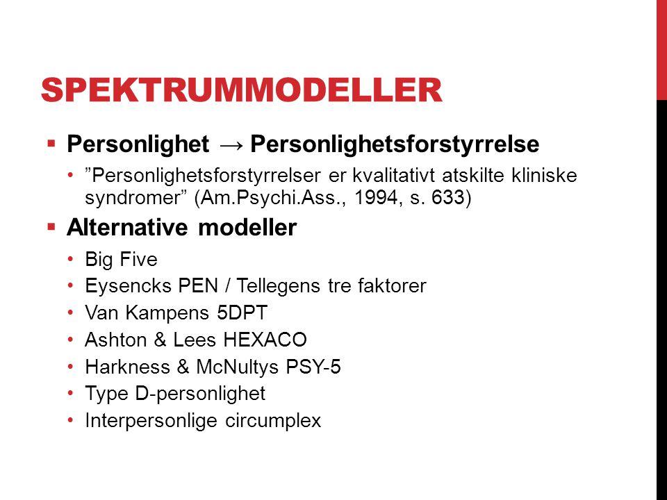 Spektrummodeller Personlighet → Personlighetsforstyrrelse