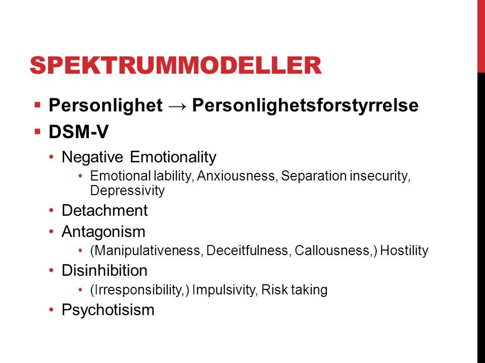 Spektrummodeller Personlighet → Personlighetsforstyrrelse DSM-V