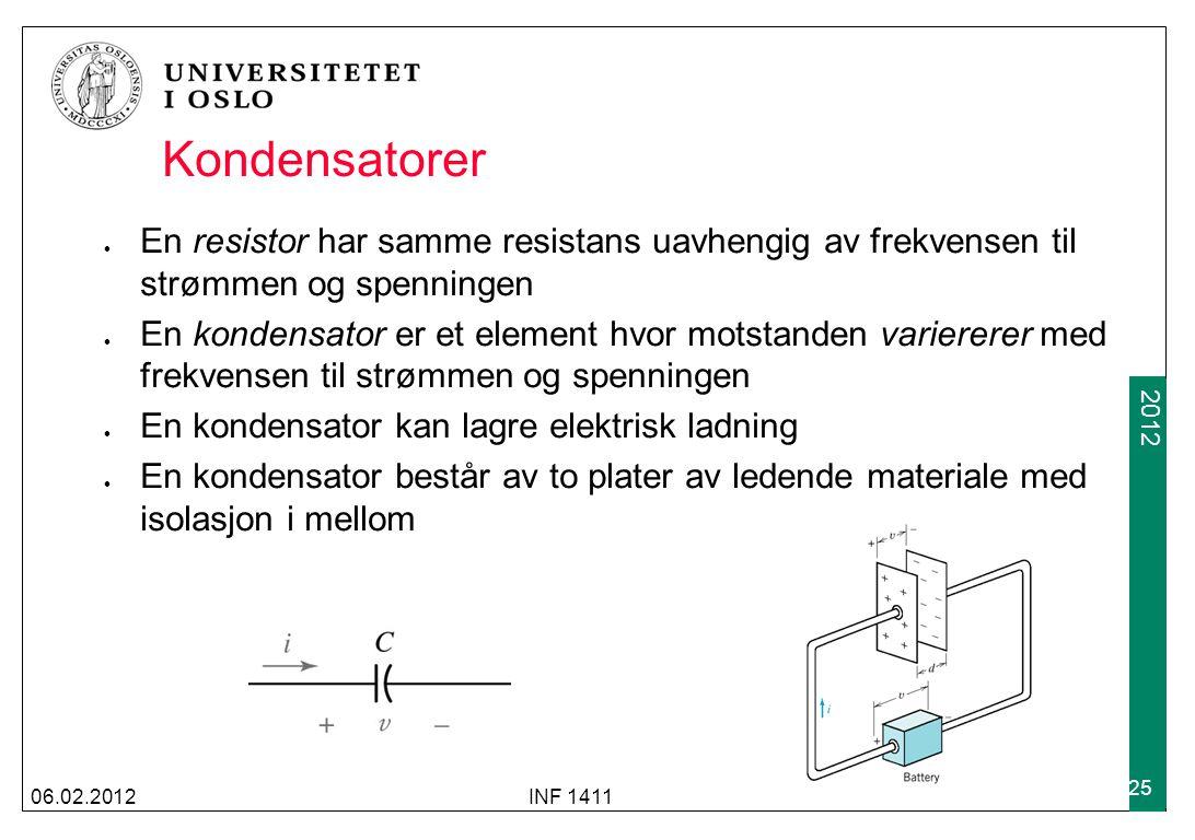 Kondensatorer En resistor har samme resistans uavhengig av frekvensen til strømmen og spenningen.