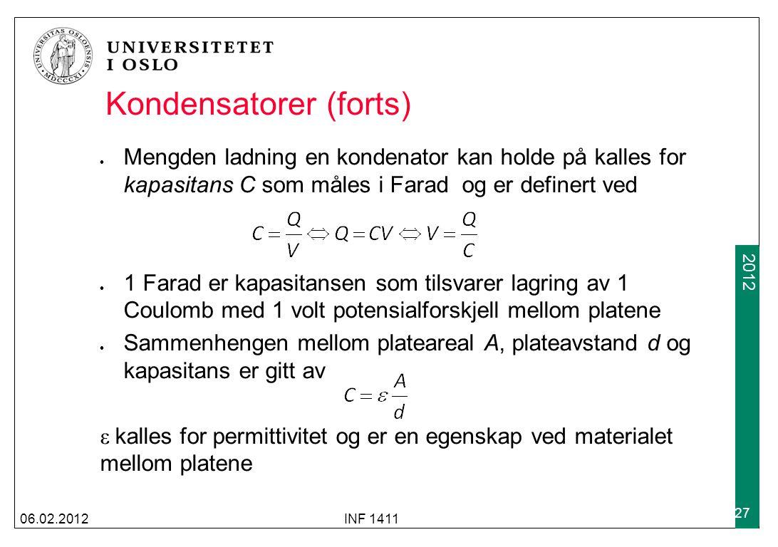Kondensatorer (forts)