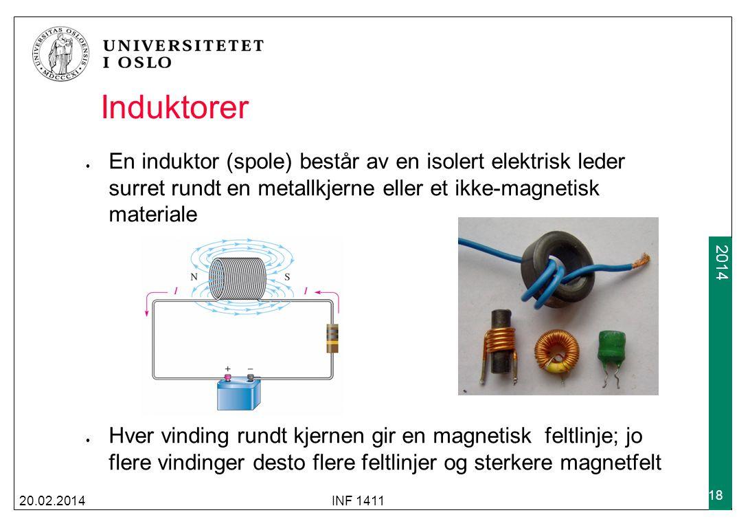 Induktorer En induktor (spole) består av en isolert elektrisk leder surret rundt en metallkjerne eller et ikke-magnetisk materiale.