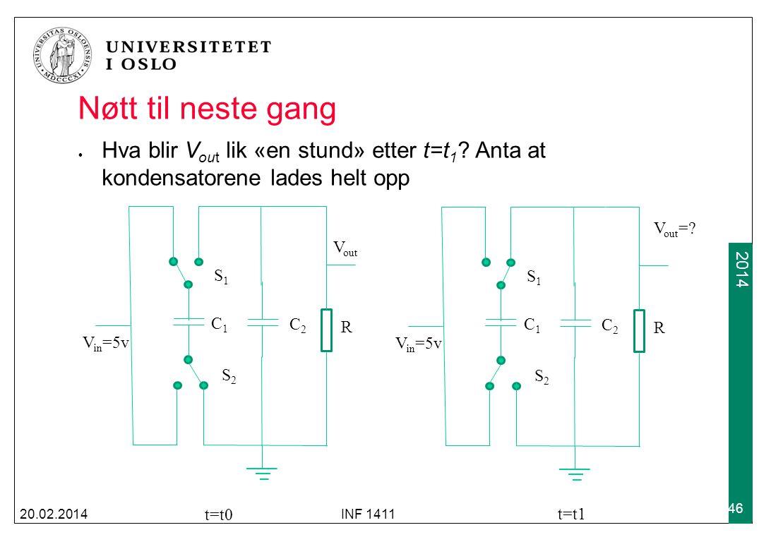 Nøtt til neste gang Hva blir Vout lik «en stund» etter t=t1 Anta at kondensatorene lades helt opp.