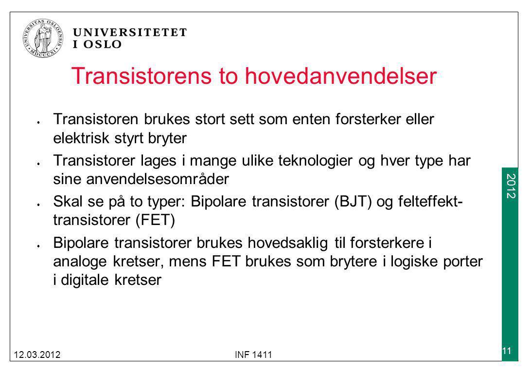 Transistorens to hovedanvendelser