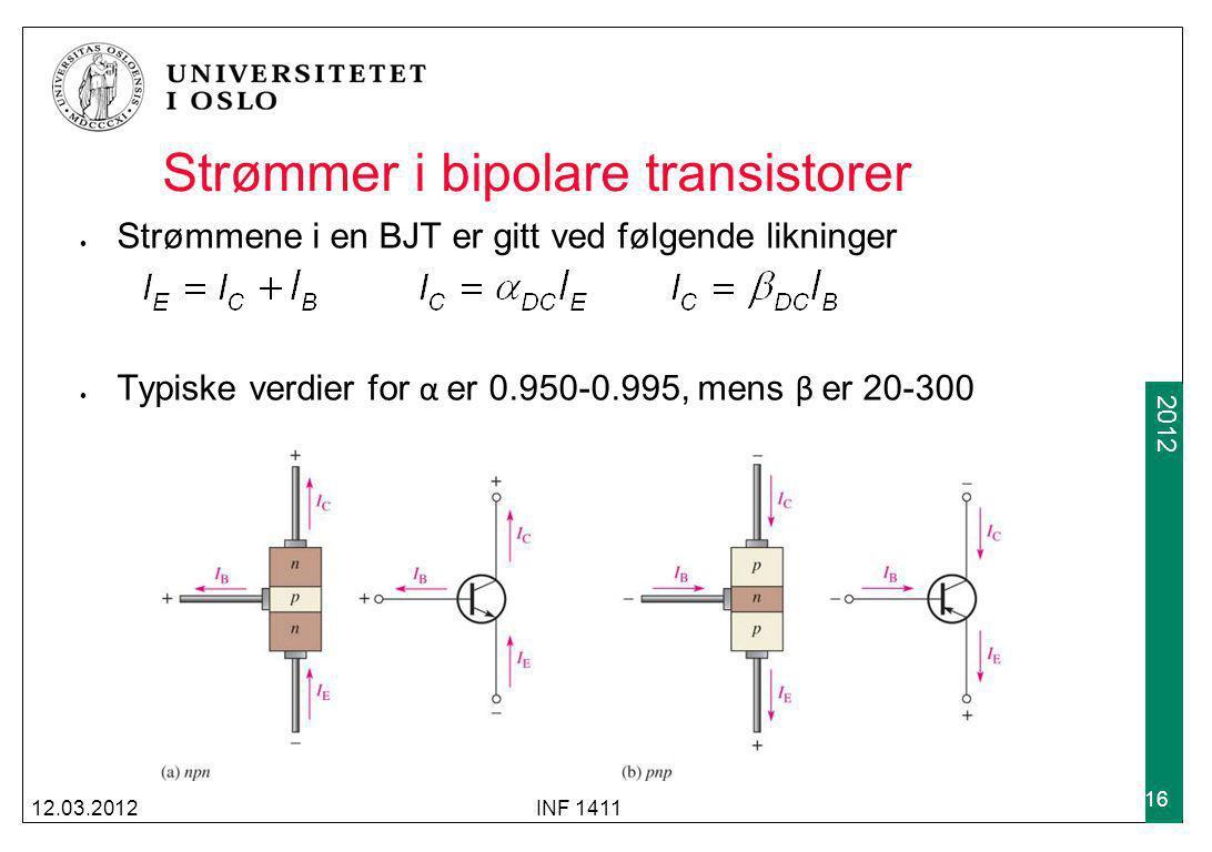 Strømmer i bipolare transistorer