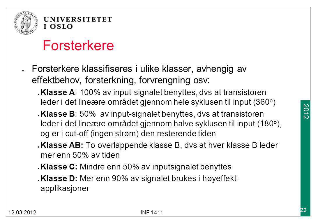 Forsterkere Forsterkere klassifiseres i ulike klasser, avhengig av effektbehov, forsterkning, forvrengning osv: