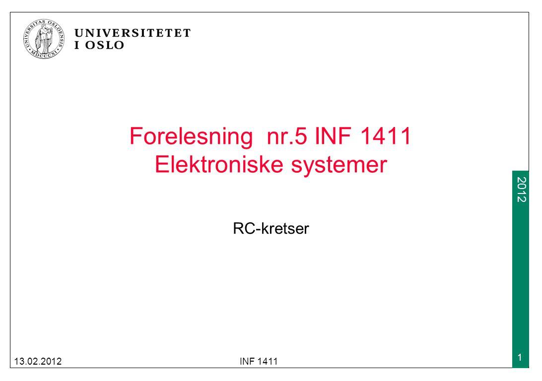 Forelesning nr.5 INF 1411 Elektroniske systemer
