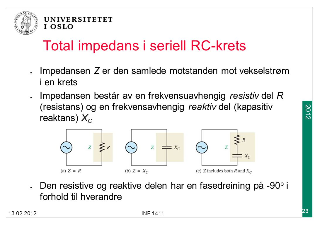 Total impedans i seriell RC-krets