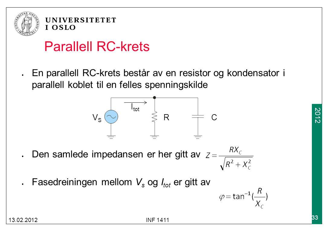 Parallell RC-krets En parallell RC-krets består av en resistor og kondensator i parallell koblet til en felles spenningskilde.