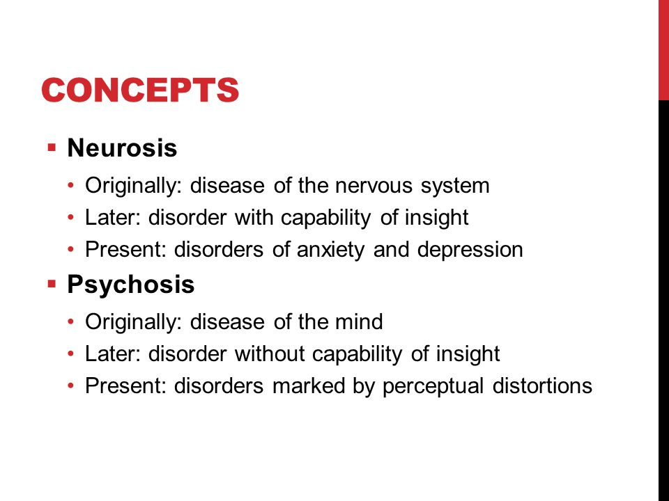 Concepts Neurosis Psychosis Originally: disease of the nervous system