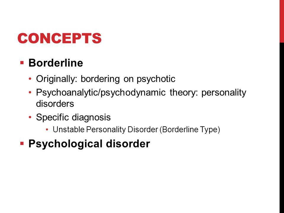 Concepts Borderline Psychological disorder