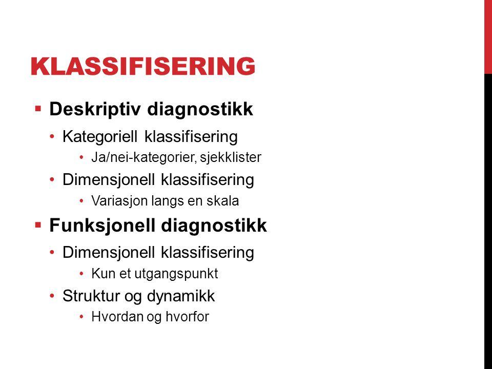 Klassifisering Deskriptiv diagnostikk Funksjonell diagnostikk