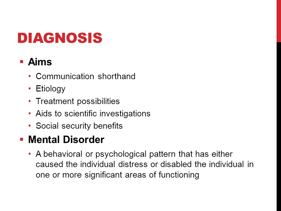 Diagnosis Aims Mental Disorder Communication shorthand Etiology