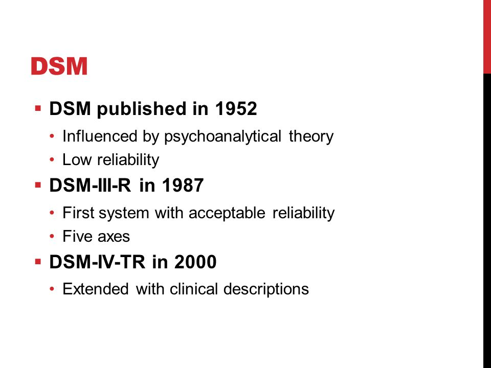 DSM DSM published in 1952 DSM-III-R in 1987 DSM-IV-TR in 2000