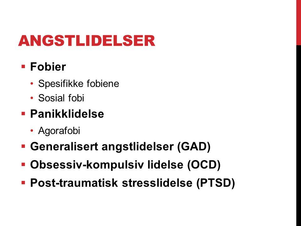 Angstlidelser Fobier Panikklidelse Generalisert angstlidelser (GAD)