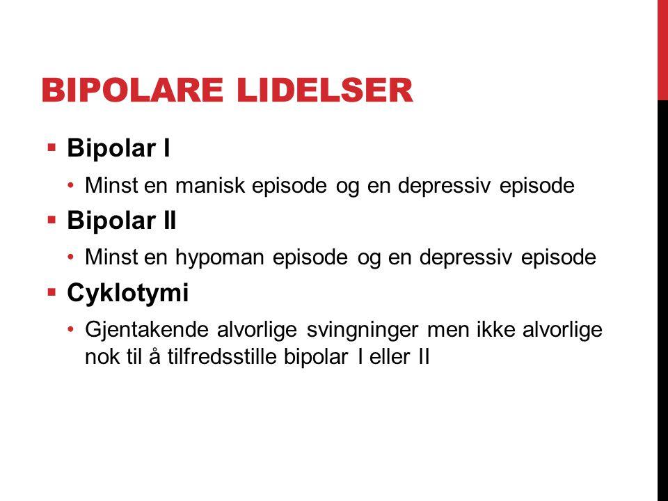Bipolare lidelser Bipolar I Bipolar II Cyklotymi