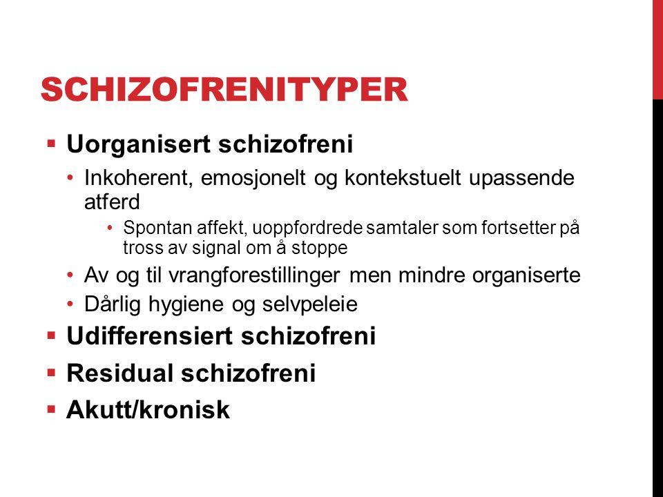 Schizofrenityper Uorganisert schizofreni Udifferensiert schizofreni