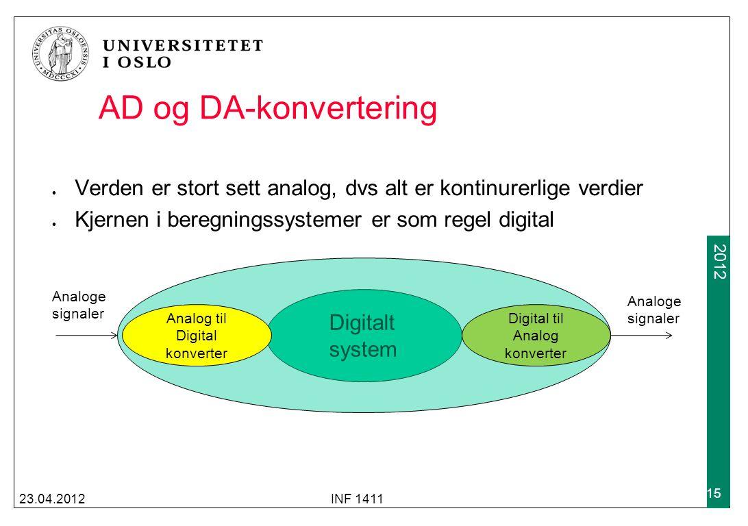 AD og DA-konvertering Verden er stort sett analog, dvs alt er kontinurerlige verdier. Kjernen i beregningssystemer er som regel digital.