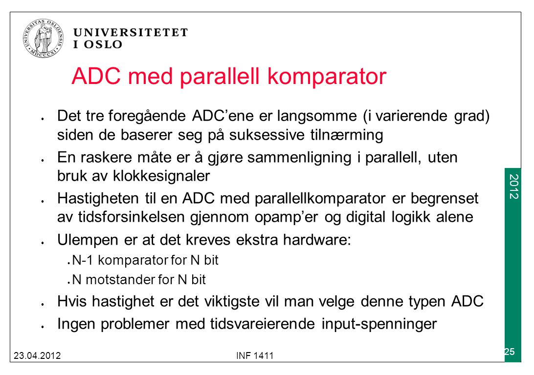 ADC med parallell komparator