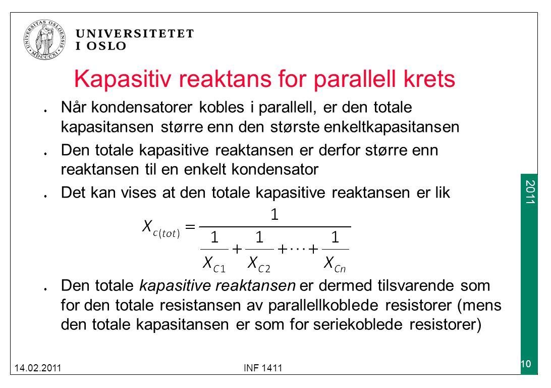 Kapasitiv reaktans for parallell krets