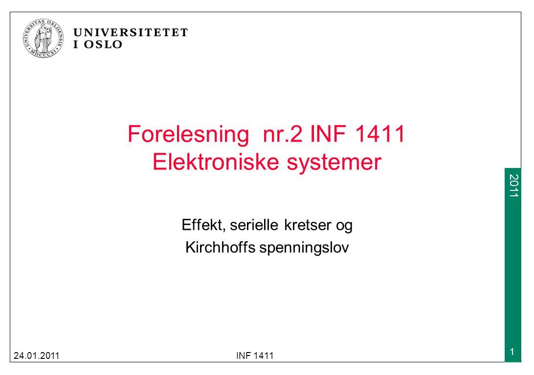 Forelesning nr.2 INF 1411 Elektroniske systemer