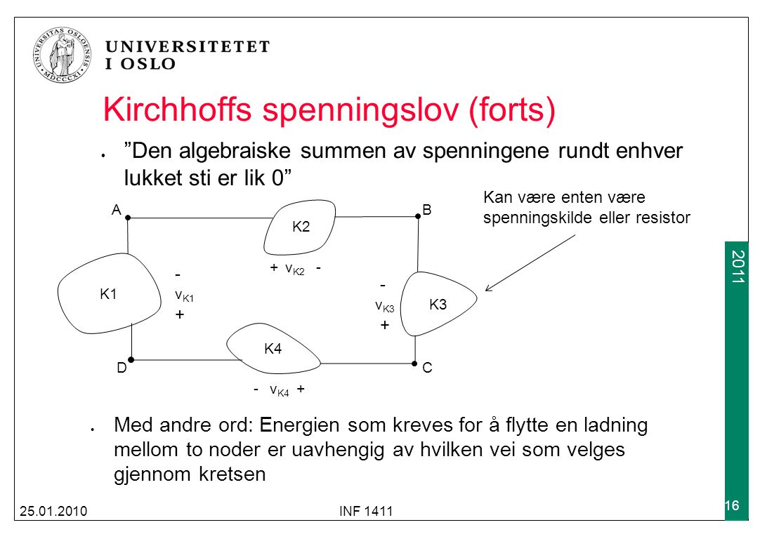 Kirchhoffs spenningslov (forts)