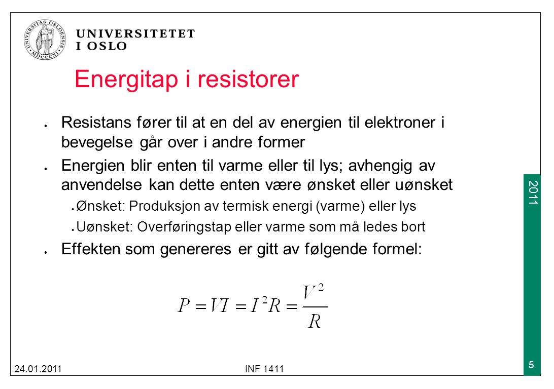 Energitap i resistorer