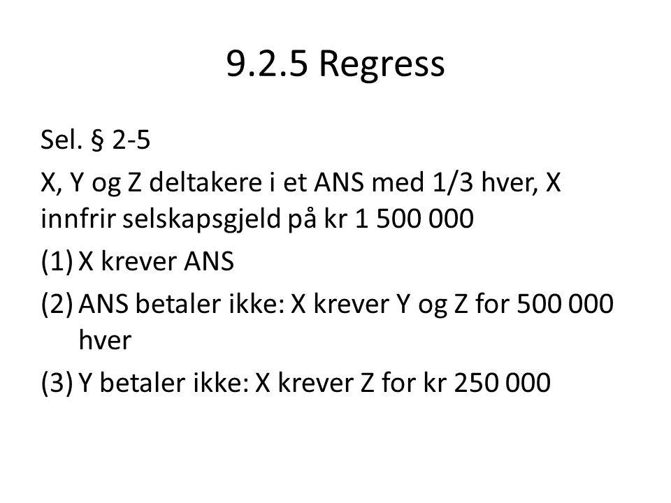 9.2.5 Regress Sel. § 2-5. X, Y og Z deltakere i et ANS med 1/3 hver, X innfrir selskapsgjeld på kr 1 500 000.