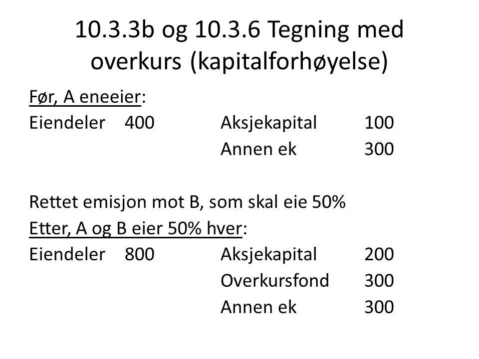 10.3.3b og 10.3.6 Tegning med overkurs (kapitalforhøyelse)