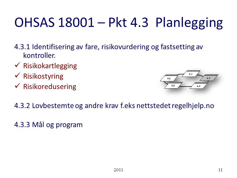 OHSAS 18001 – Pkt 4.3 Planlegging