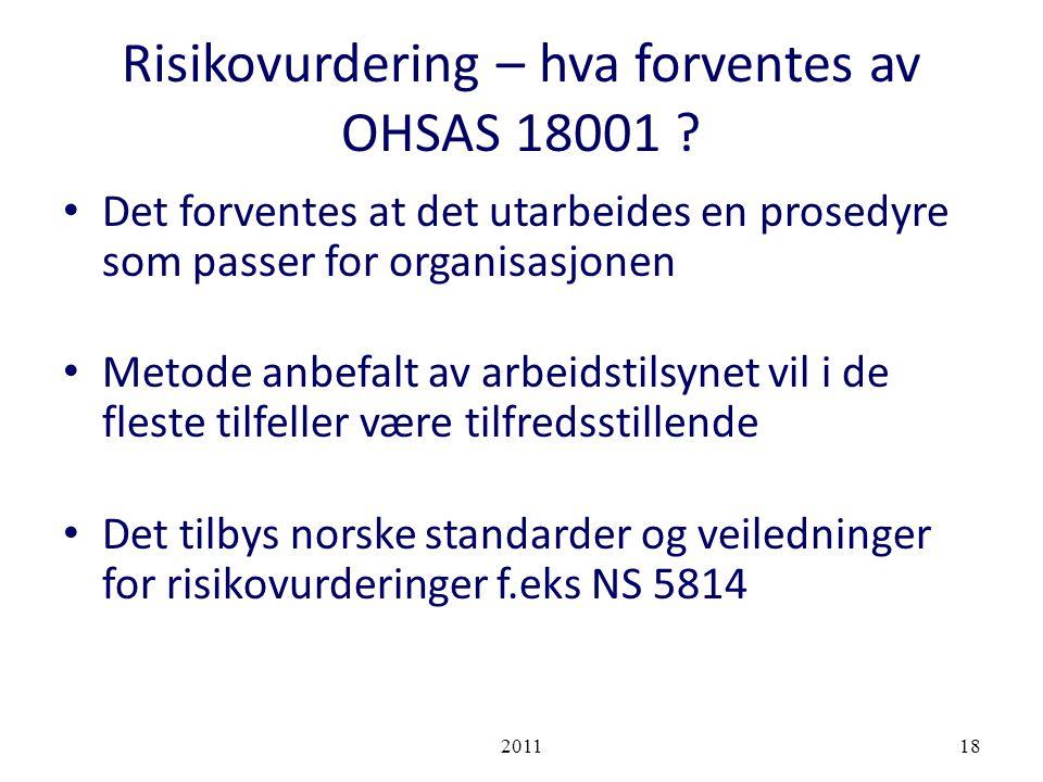 Risikovurdering – hva forventes av OHSAS 18001