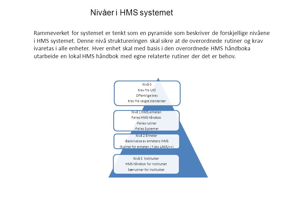 Nivåer i HMS systemet
