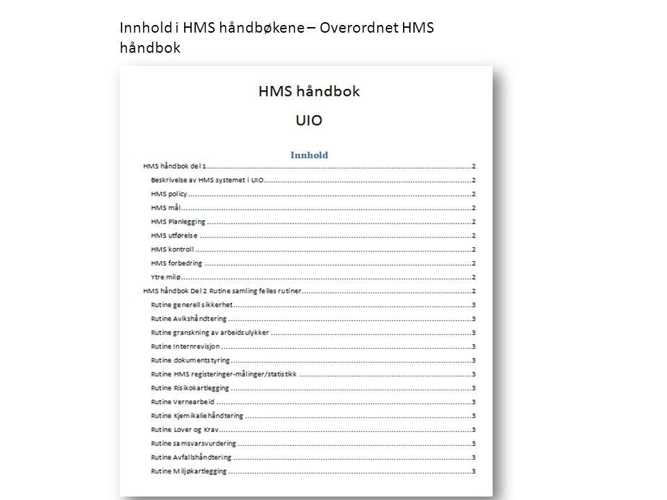 Innhold i HMS håndbøkene – Overordnet HMS håndbok