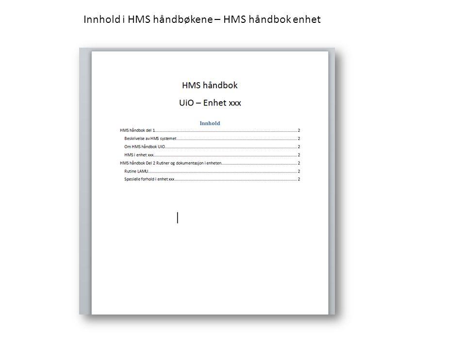 Innhold i HMS håndbøkene – HMS håndbok enhet
