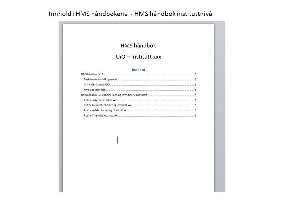 Innhold i HMS håndbøkene - HMS håndbok instituttnivå