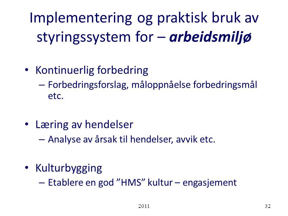 Implementering og praktisk bruk av styringssystem for – arbeidsmiljø