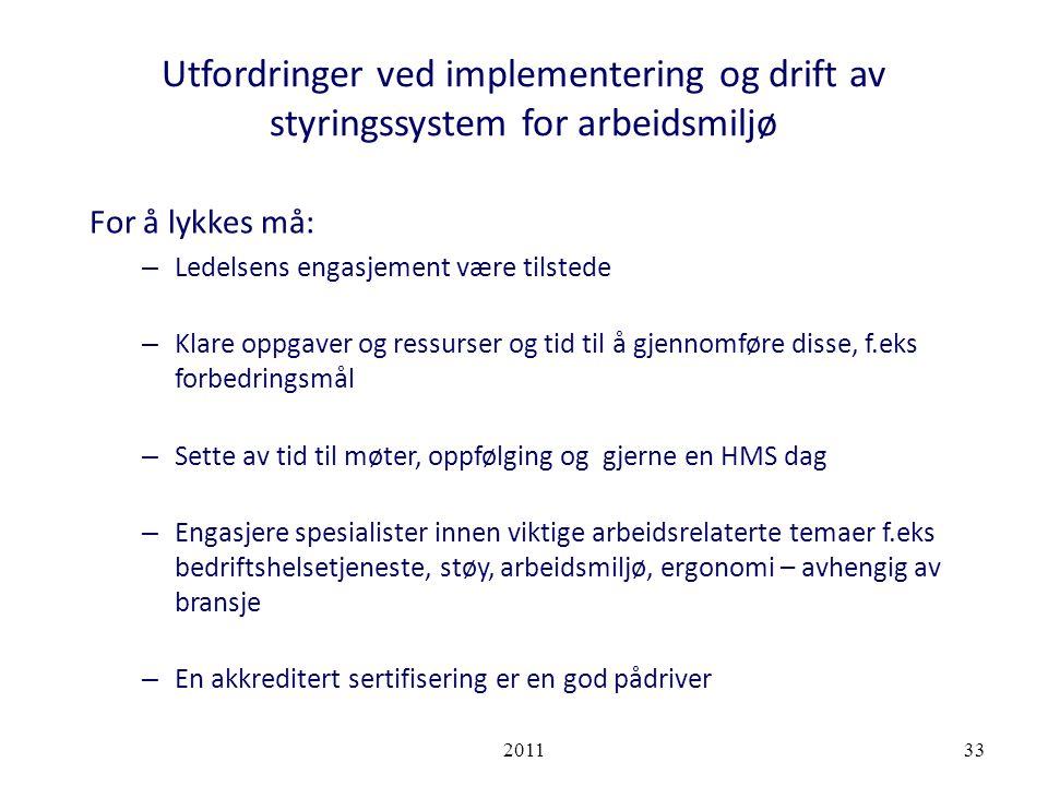 Utfordringer ved implementering og drift av styringssystem for arbeidsmiljø