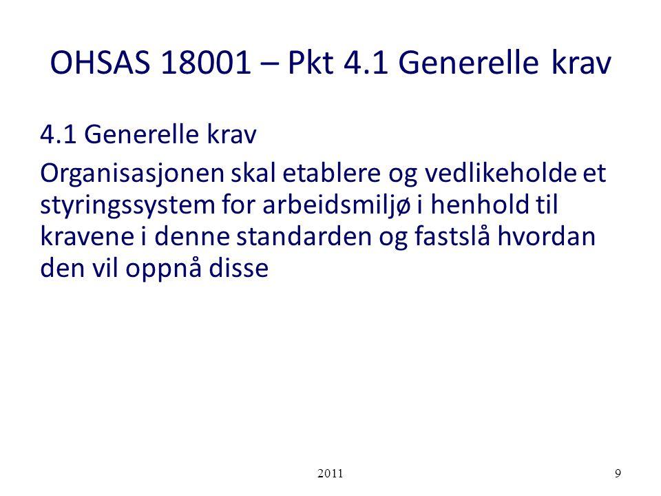 OHSAS 18001 – Pkt 4.1 Generelle krav