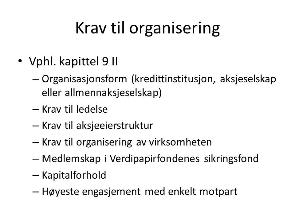 Krav til organisering Vphl. kapittel 9 II