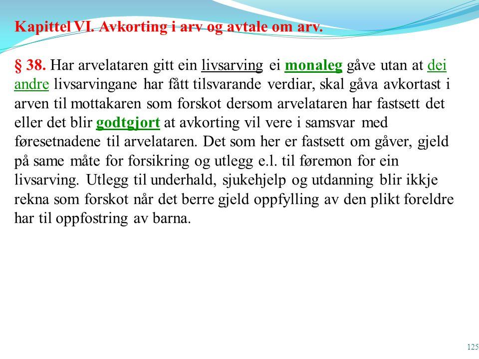Kapittel VI. Avkorting i arv og avtale om arv.