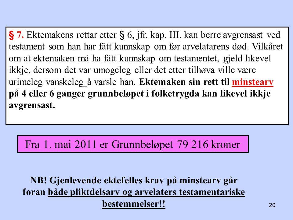 Fra 1. mai 2011 er Grunnbeløpet 79 216 kroner