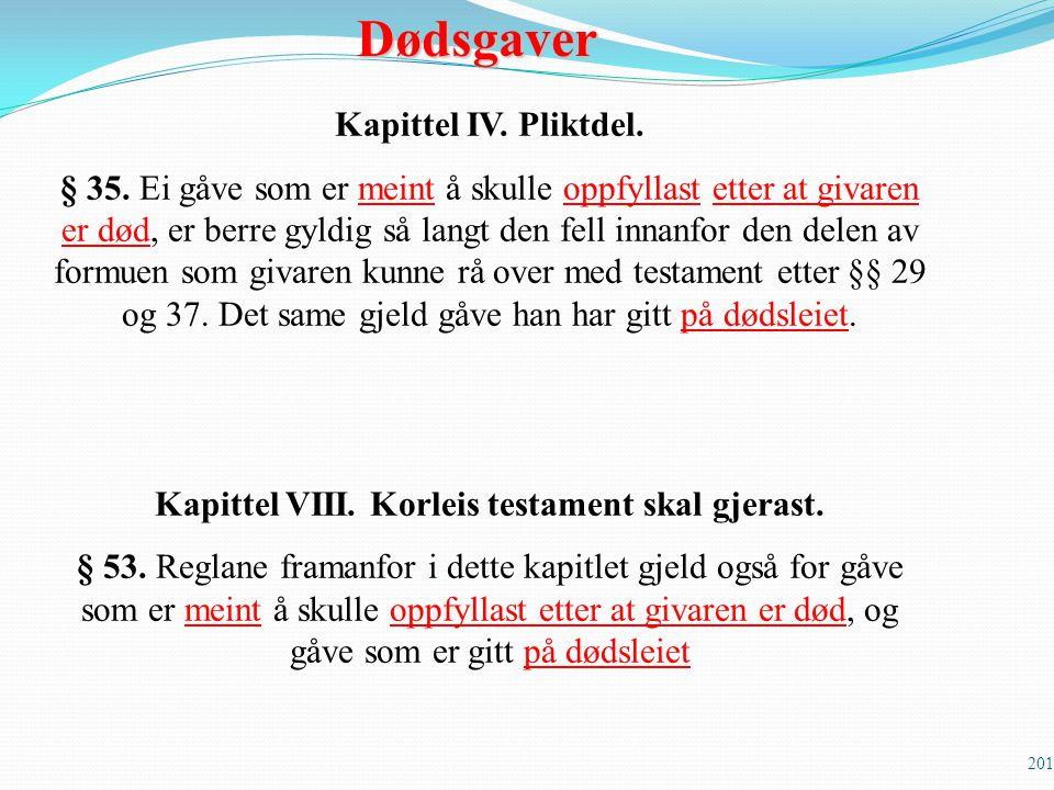 Kapittel VIII. Korleis testament skal gjerast.